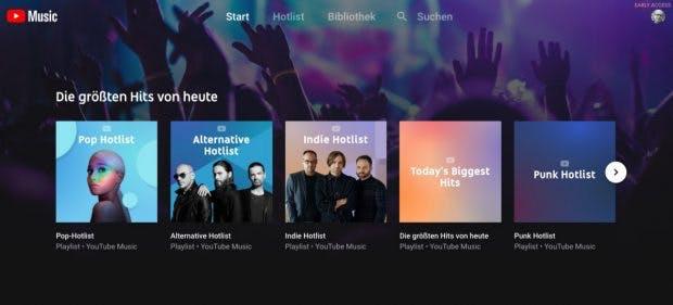 Die Startseite zeigt nach längerer Nutzung für den User relevante Musik an. (Screenshot: t3n.de)