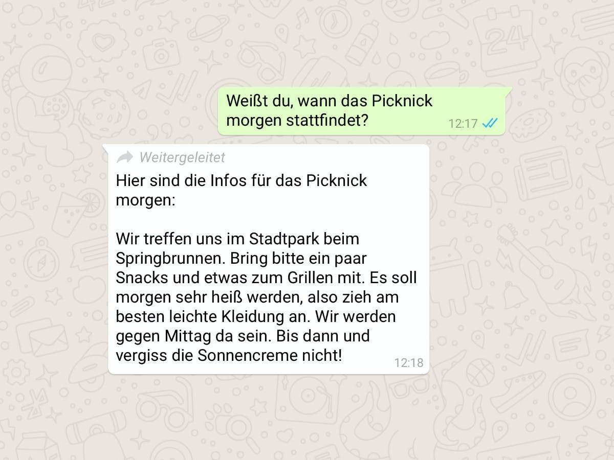 Whatsapp markiert jetzt weitergeleitete Nachrichten von Dritten