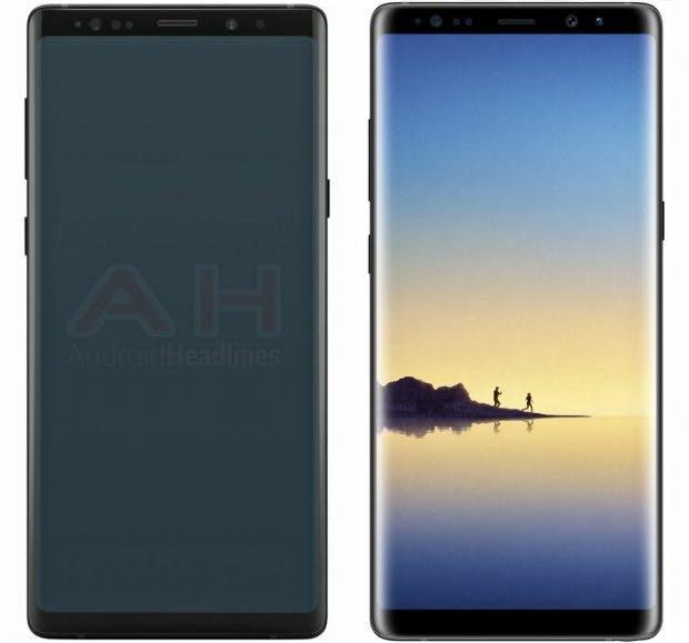 Fronten im Vergleich: Samsung Galaxy Note 9 vs. Note 8. (Bild: Android Headlines)
