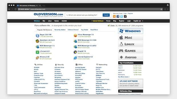 Alte Versionen von Software gesucht? Hier findest du sie