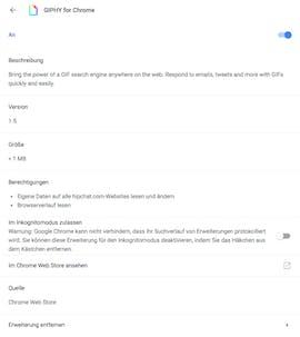 In den Giphy-Berechtigungen taucht das Mitlesen des Verlaufs auf. (Screenshot: t3n.de)