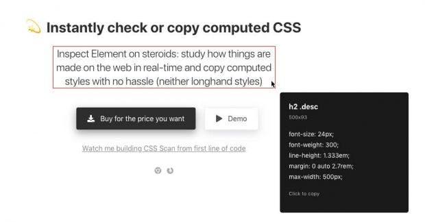 CSS-Scan: Code anzeigen und kopieren mit nur einem Klick. (Screenshot: Guilherme Rizzo)
