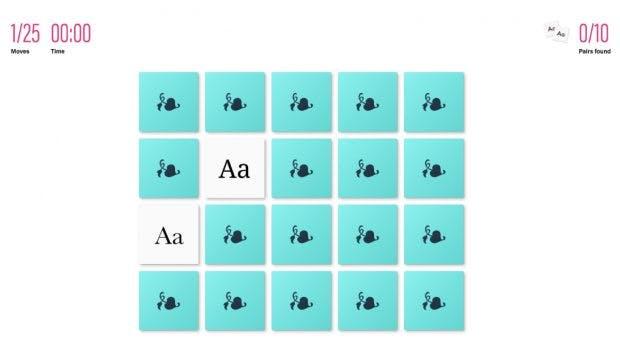 Für Typografie-Fans: Ein Online-Memory mit Schriftarten statt Bildern. (Screenshot: betterwebtype.com)