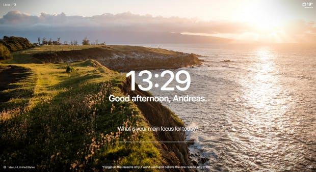Das Momentum-Dashboard. (Screenshot: t3n.de)