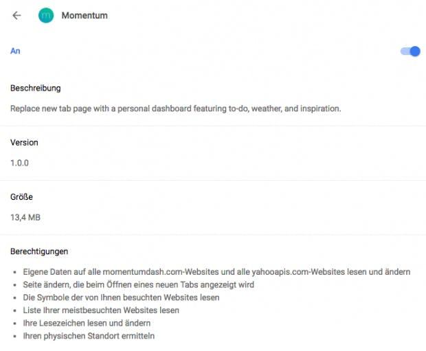 Momentum fordert auf den ersten Blick viele Berechtigungen an. Diese sind jedoch sehr explizit und werden auch alle benötigt. (Screenshot: t3n.de)