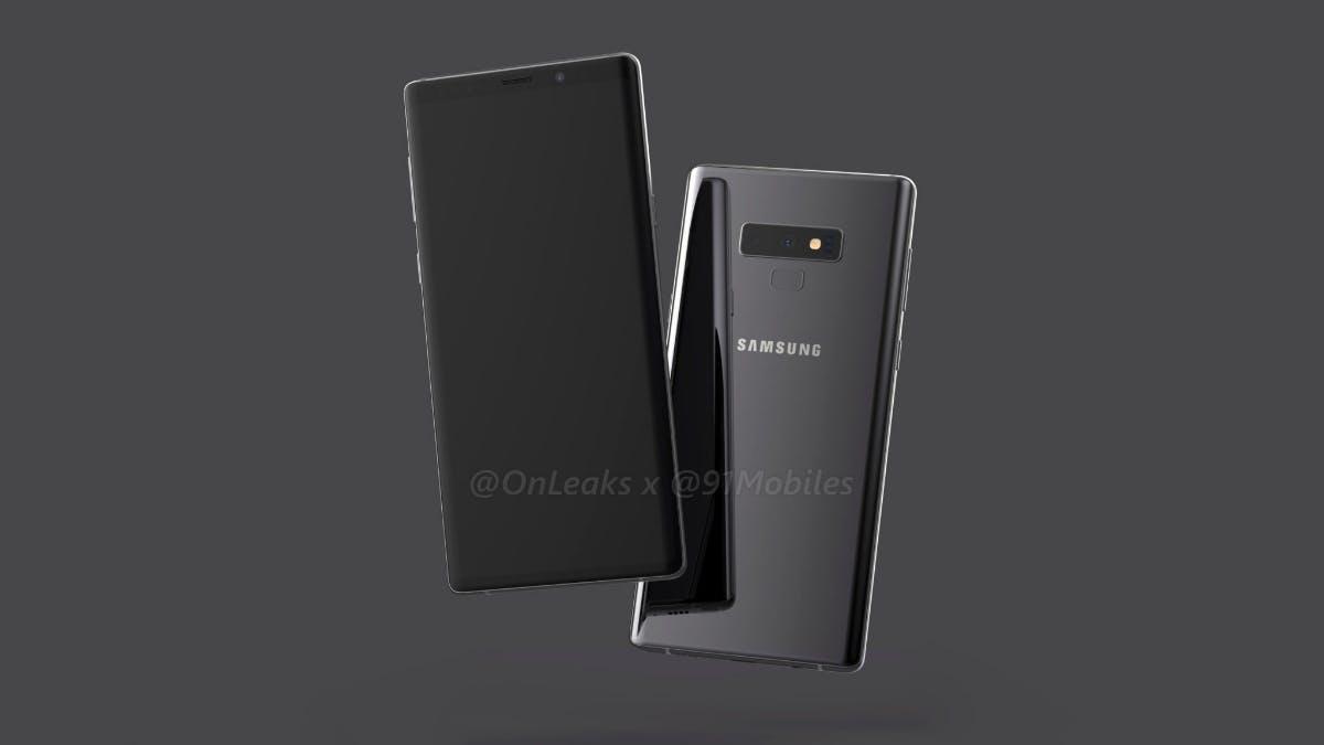 So soll das Samsung Galaxy Note 9 aussehen. (Renderbild: Onleaks, 91mobiles)