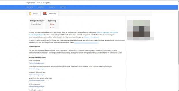 Die Pagespeed-Insights-Analyse liefert hilfreiche Erkenntnisse für die Suchmaschinenoptimierung