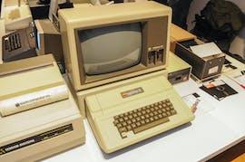 Ein Apple II Computer bei einer Konferenz in Polen. (Photo by Jaap Arriens/NurPhoto)