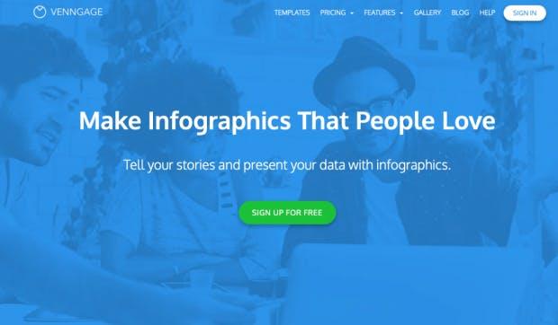 Venngage bietet ein Social-Tool zur Visualisierung von Daten aus sozialen Netzwerken. (Screenshot: t3n)
