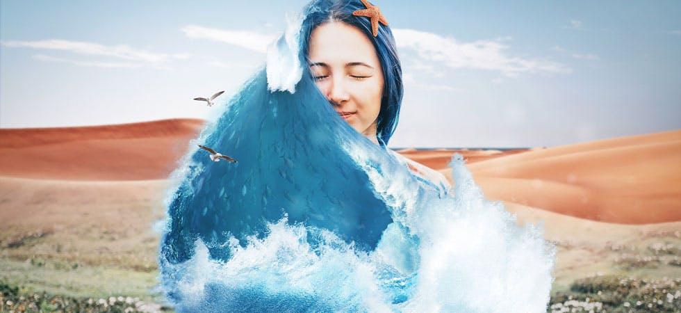 Blaue Haarwelle