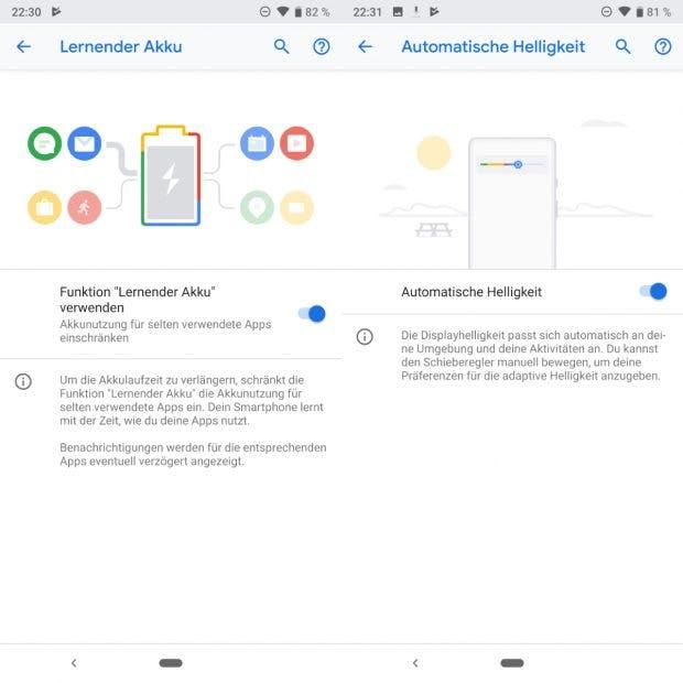 Android 9 Pie mit KI-Funktionen zur Optimierung von Akkulaufzeit und Displayhelligkeit. (Bild: t3n.de)