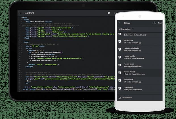 Codeaynwhere gibt es als Web-App sowie für die Systeme iOS und Android. (Grafik: Codeanywhere)