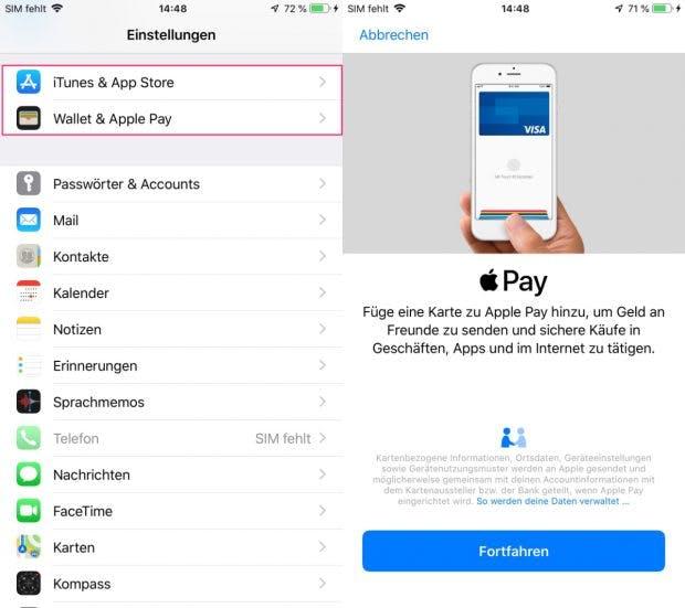 In der iOS 12 Beta sind auf dem iPhone – nach Werksreset – die Apple Pay und Wallet Einstellungen zu finden. (Screenshot: t3n.de)