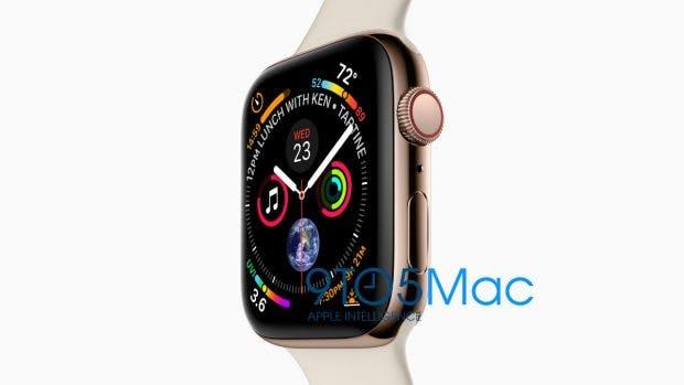 Die Apple Watch Serie 4 wird laut 9to5 Mac in der Tat ein größeres Display erhalten und wie auf dem Bild (kein Mockup) aussehen. (Bild: 9to5Mac)