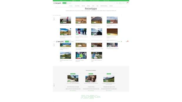 Im seinem Magazin bietet Bergzeit unter anderem Touren- und Reiseberichte für Wanderbegeisterte. (Screenshot: Bergzeit)