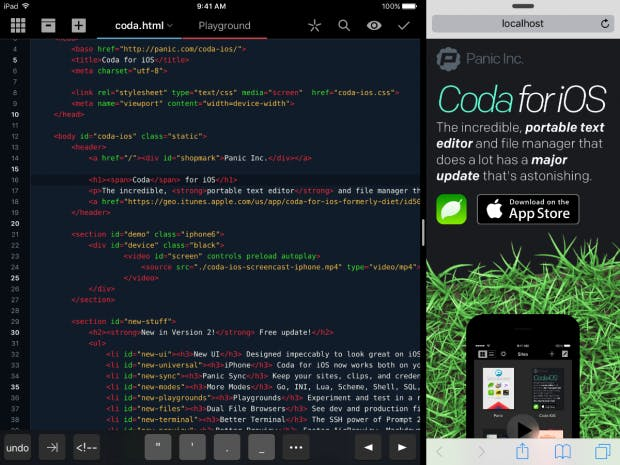 An HTML preview of Coda on the iPad in split view.  (Screenshot: Panic)