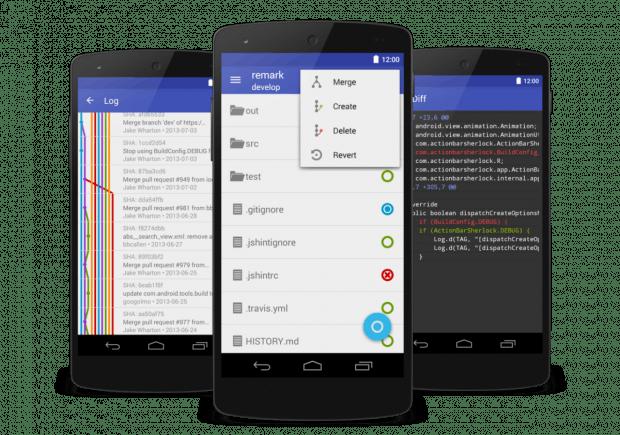 Die kostenpflichtige Android-App Pocket Git kommt mit einem sauberen Interface daher. (Grafik: André Restivo)