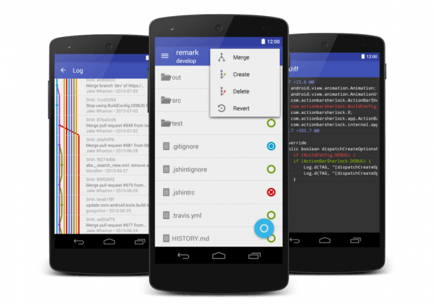 The paid Android app Pocket Git comes with a clean interface.  (Graphic: André Restivo)