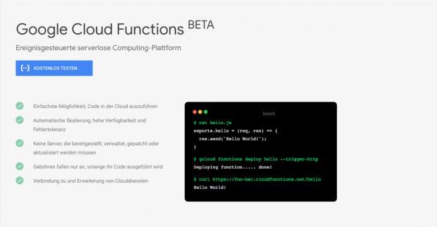 Auch Google bietet mit Cloud-Functions eine Lösung für Serverless Computing an. (Screenshot: t3n.de/Google)