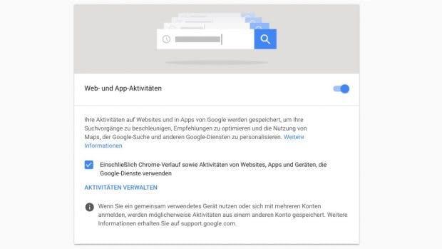 """Nicht nur den standortverlauf, sondern auch die Funktion """"Web- und Aktivitäten"""" müsst ihr abstellen, damit Google euch nicht mehr trackt. Dadurch wird aber auch die Funktionalität der Dienste eingeschränkt. (Screenshot: t3n.de)"""