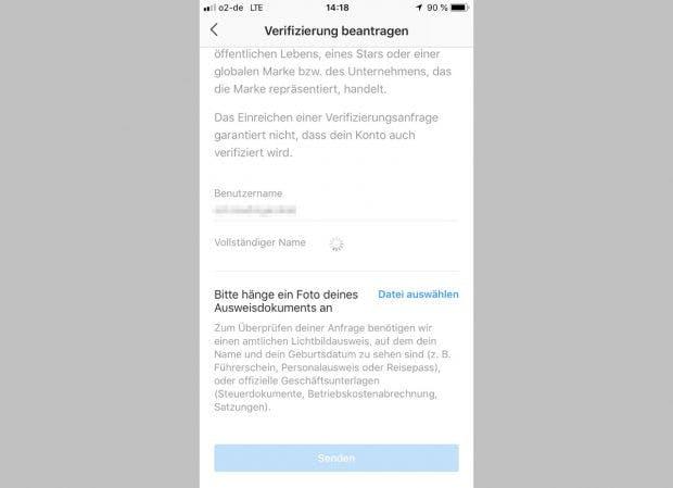 Auch in Deutschland könnt ihr die Verifikation eures Instagram-Kontos beantragen. (Screenshot: Instagram für iOS / t3n)
