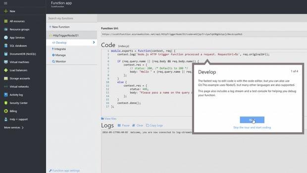 Das Dashboard von Microsoft Azure Functions. (Screenshot: Microsoft)