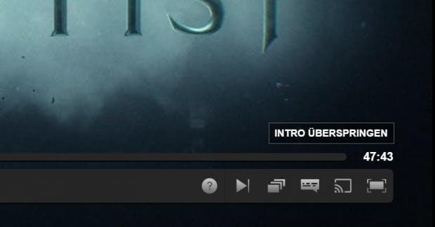 Die teils minutenlangen Intros von Serien lassen sich mit einem Klick überspringen. (Screenshot: t3n)