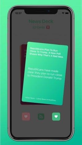Mit einem Swipe nach rechts landen News entweder in der Erinnerungen-App oder auf der Safari-Leseliste. (Grafik: News Deck)
