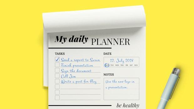 Diese kostenlose Papiervorlage hilft dir, deinen Arbeitstag optimal zu planen