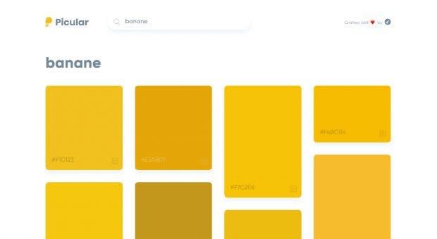 Picular ermittelt die Farben zu eurem Suchbegriff aus den Top-Ergebnissen der Google-Bildersuche. (Screenshot: Picular)
