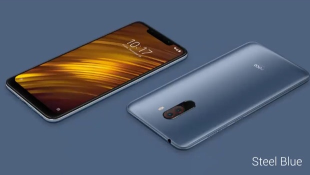 Pocophone F1 in blau. (Screenshot: t3n)