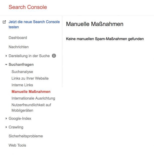 Search Console Manuelle Abstrafung