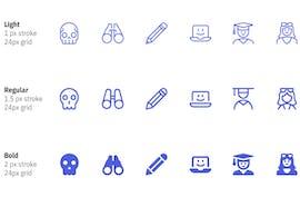 Die dünnen und dicken Icons haben nicht nur verschiedene Linienstärken, sondern wurden an einigen Stellen auch ausgefüllt. (Grafik: Streamline)