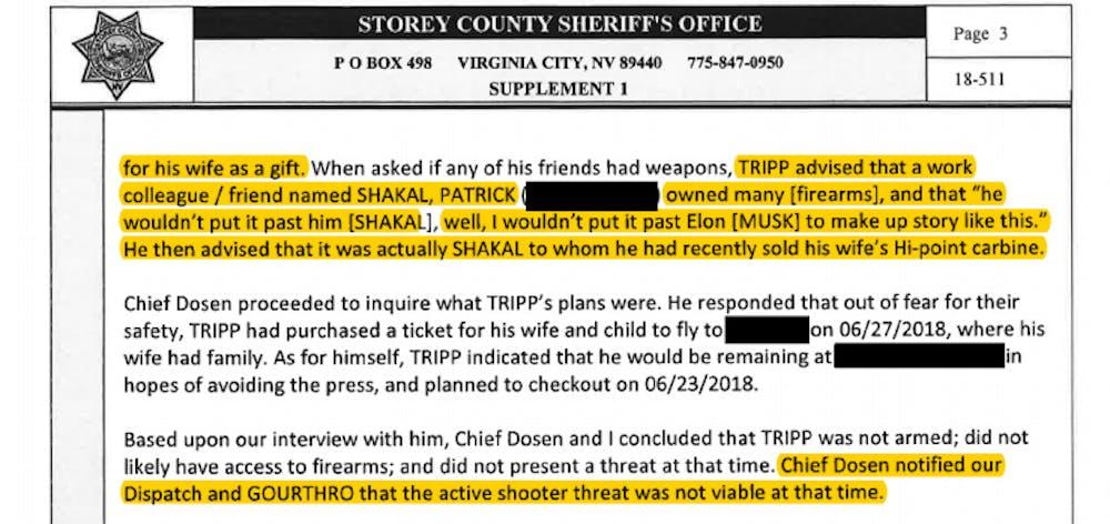 Die angeblichen Angriffspläne des Whistleblowers Martin Tripp gehören zu den wohl bizarrsten Vorfällen dieses Falles. (Screenshot: Storey County Sheriff's Office / Meissner Associates)