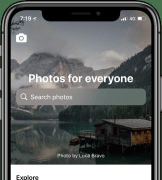 Durchsuche alle Interaction-Designs einer App. Hier die Stockfoto-Plattform Unsplash auf dem iPhone X. (Grafik: UI-Sources)