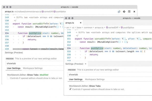 Die neuen Breadcrumbs können entweder mit oder ohne Tabs verwendet werden. (Screenshot: Microsoft)