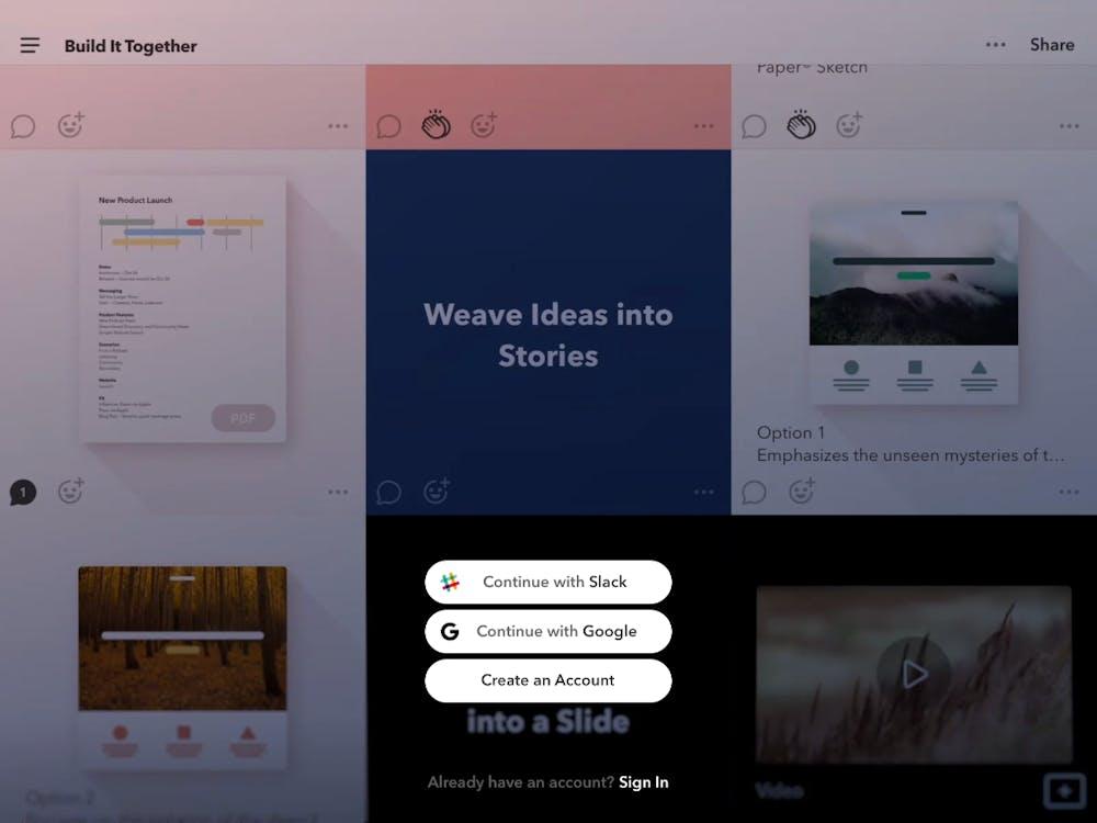Ende letzten Jahres startete Fiftythree die App Paste, mit der Teams kinderleicht schicke Präsentationen erstellen können sollen. (Screenshot: Paste / t3n)