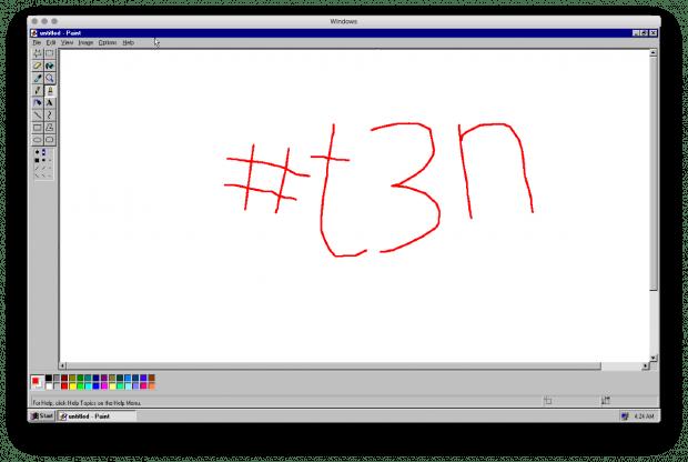Auch Klassiker wie Paint funktionieren in der Emulation von Windows 95. (Screenshot: Windows-95-App / t3n)