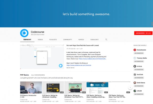 Der Youtube-Kanal Codecourse macht fast ausschließlich Videos zum Thema PHP. (Screenshot: t3n.de)