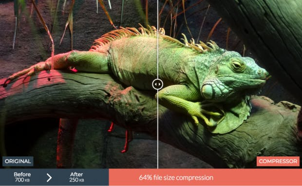 Ohne sichtbaren Qualitätsverlust verspricht Compressor.io die Dateigröße deiner Bilder um bis zu 90 Prozent zu reduzieren. (Screenshot: t3n.de)