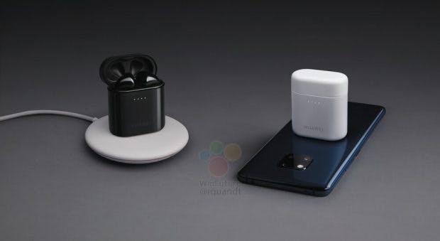Die Huawei Freebuds 2 Pro können optional im Case entweder per Ladedock oder auf dem Mate 20 Pro drahtlos nachgeladen werden. (Bild: Winfuture)