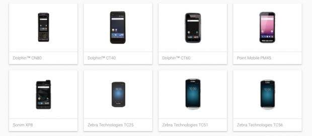 Googles Android-Enterprise-Recommended-Programm umfasst zum Start zehn Geräte.(Screenshot: t3n.de)