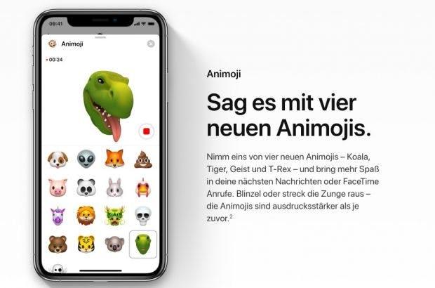 iOS 12 bringt vier neue Animoji: Koala, Tiger, Geist und T. Rex. (Screenshot: Apple)