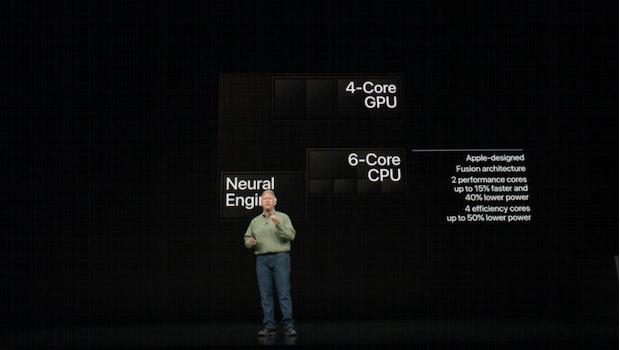 Der A12-Bionic-Chip besitzt sechs CPU-, acht GPU-Kerne und eine Neural Engine – unter anderem für AR-Inhalte. (Sreenshot: t3n)