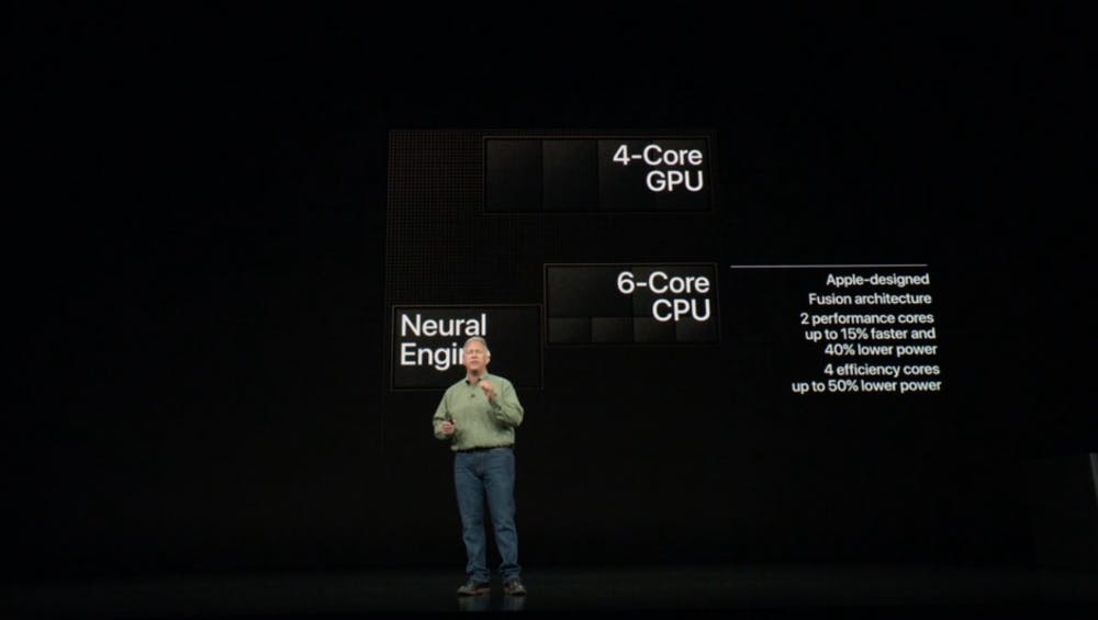 Der A12 Bionic-Chip besitzt sechs CPU-, acht GPU-Kerne und eine Neural Engine – unter anderem für AR-Inhalte. (Sreenshot: t3n.de)
