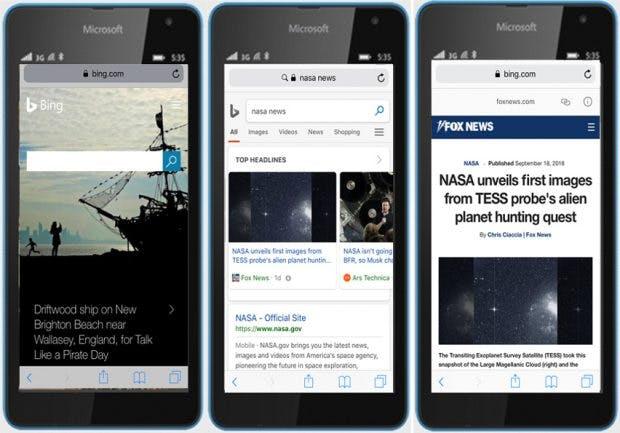 Auch die mobilen Suchergebnisse auf Bing liefern bald Seiten im AMP-Format aus. Hier verdeutlicht anhand einer wenig professionell wirkenden Bildmontage von Microsoft. (Grafik: Microsoft)