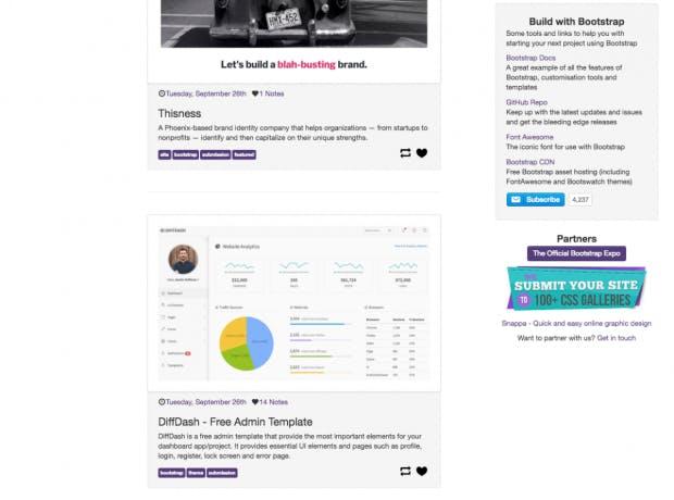 Build with Bootstrap ist ein Showcase für verschiedene Bootstrap-Projekte. (Screenshot: t3n.de)