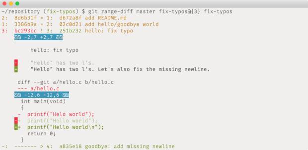 """Der neue Befehl """"git range-diff"""" zeigt im Gegensatz zu """"git diff"""" die Änderungen von ganzen Commit-Sequenzen an. (Screenshot: Github)"""