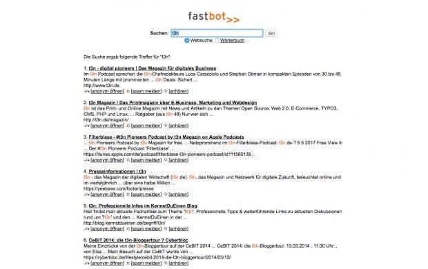Fastbot ist tatsächlich recht flink mit den Ergebnissen. (Screenshot: Fastbot)
