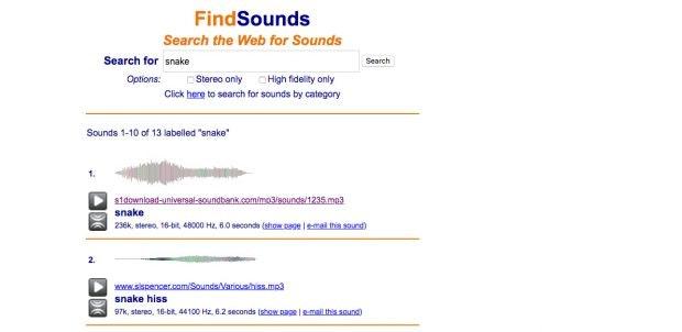 Findsounds stöbert Sound-Dateien für euch auf. (Screenshot: Findsounds)